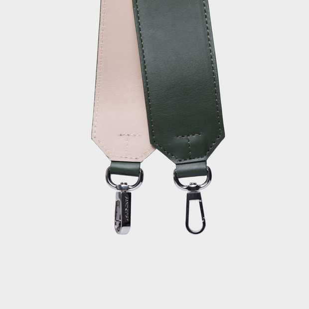 Shoulder Strap Leather - Green/Beige