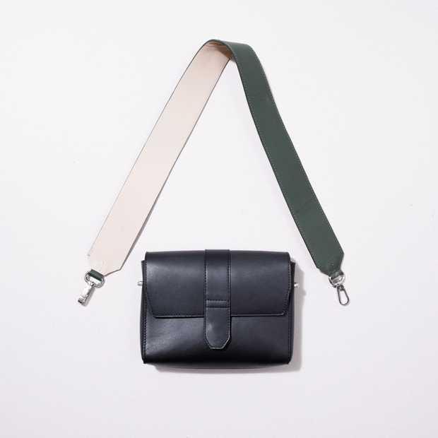 Shoulder Strap Leather - Green/Beige