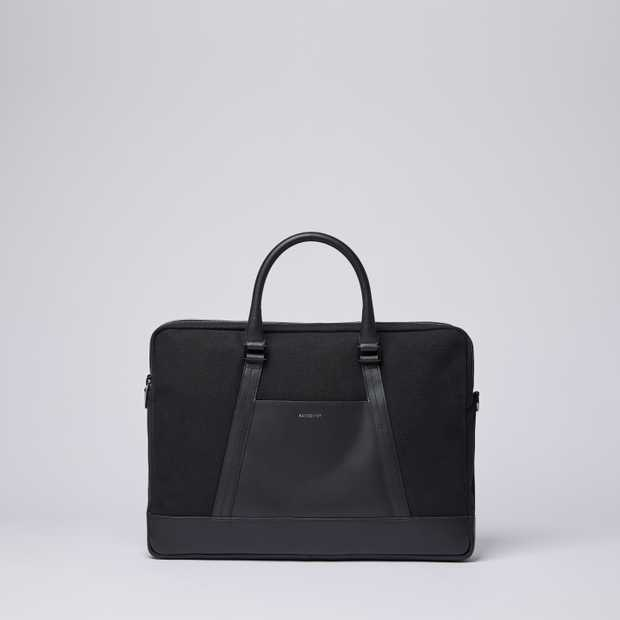 MELKER - Black Twill with Black Leather